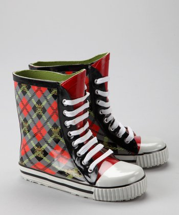 Slate Scot Plaid Sneaker Rain Boot - Kids