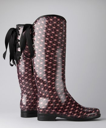 Blush Plaid Victoria Rain Boot