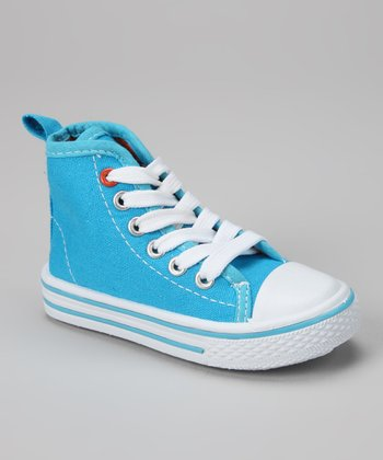 Blue & White Hi-Top Sneaker