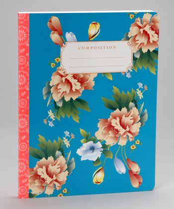 Blue Flowers Hardcover Composition Notebook