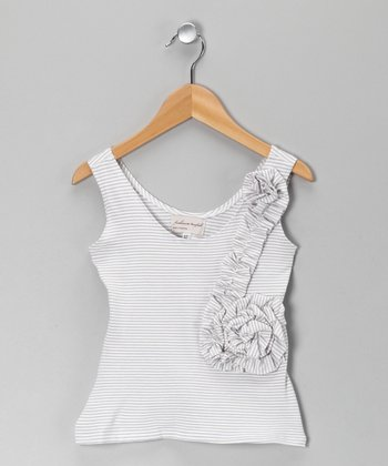 White & Gray Lily Tank - Toddler & Girls