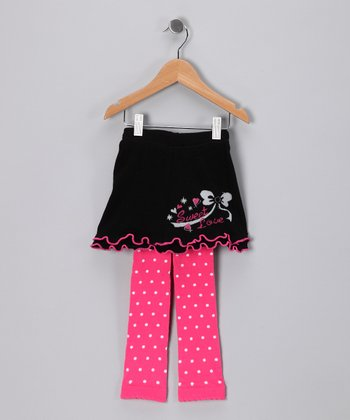 Black & Fuchsia Alyssa Skirted Leggings - Infant