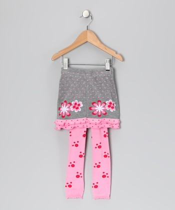 Pink & Gray Jessica Skirted Leggings - Infant