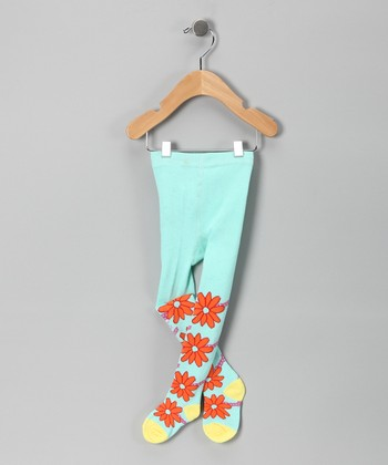 Aqua & Orange Flower Tights