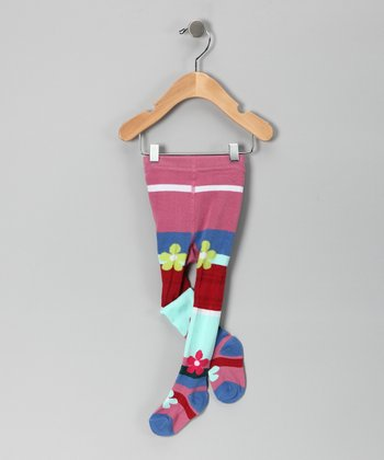 Pink & Aqua Stripe Tights - Infant