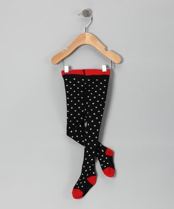 Black & Red Polka Dot Tights - Infant