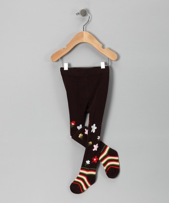 Brown Flower Tights - Infant