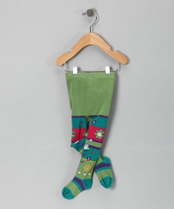 Turquoise & Green Stripe Tights - Infant