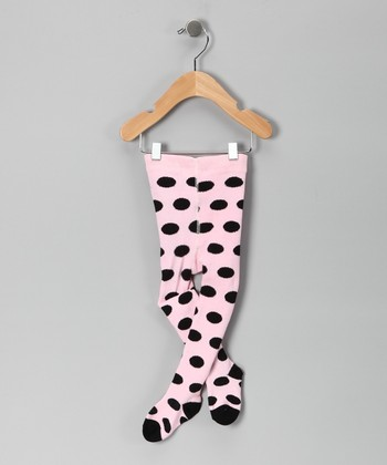 Light Pink & Black Polka Dot Tights - Infant