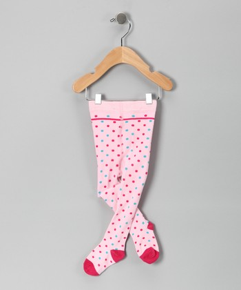 Light Pink Polka Dot Tights - Infant