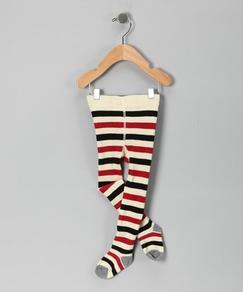 Burgundy & Black Stripe Tights - Infant