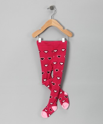 Hot Pink Heart Tights - Infant
