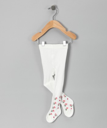 White Flower Bud Tights - Infant