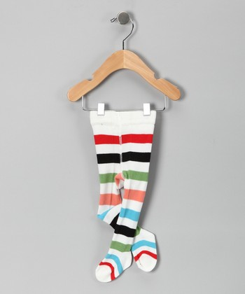 White Stripe Tights - Infant