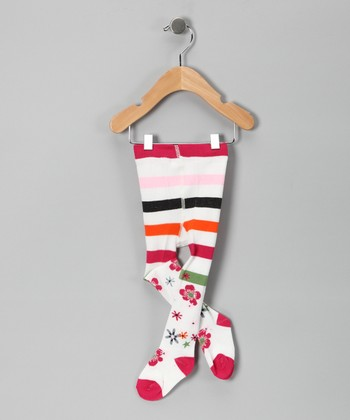 White Stripe Flower Tights - Infant