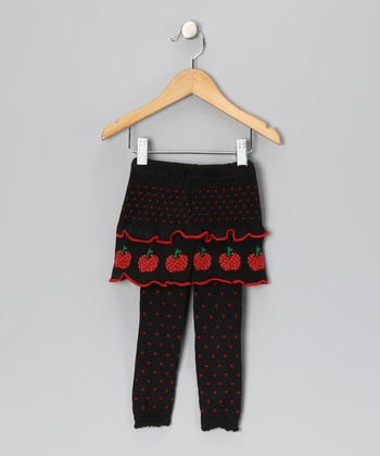 Black & Red Apple Lucy Skirted Leggings - Infant