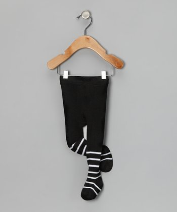 Black & White Stripe Tights - Infant