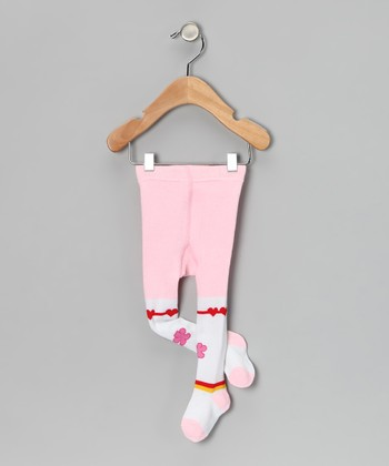 Pink & White Heart Tights - Infant