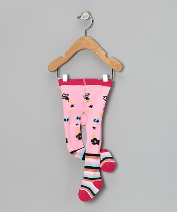 Pink Stripe Flower Tights - Infant