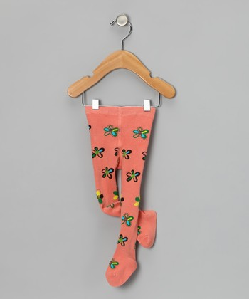 Salmon Flower Tights - Infant
