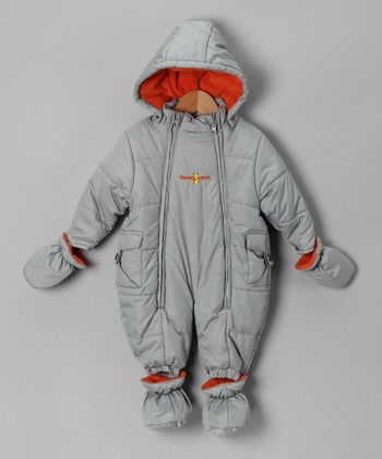 Gray & Orange Snowsuit - Infant