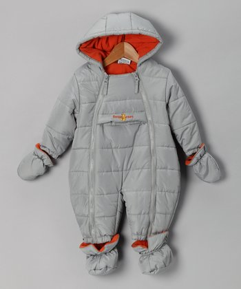 Gray & Orange Quilted Snowsuit - Infant