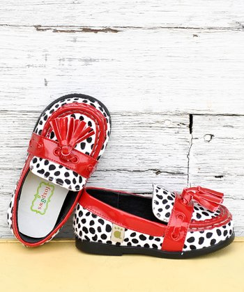 Cherry & Black Spot Tassel Loafer