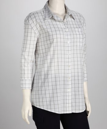 Gray Lana Plaid Button-Up