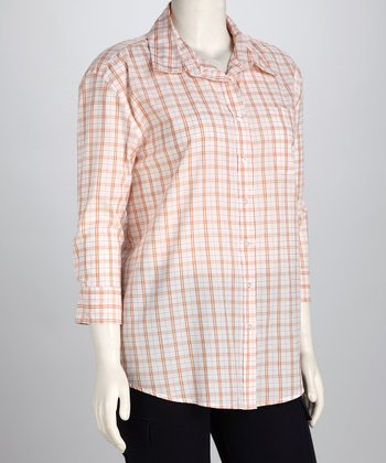Orange Lana Plaid Button-Up