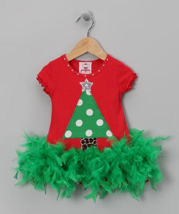 glam R baby Red Christmas Tree Feather Dress