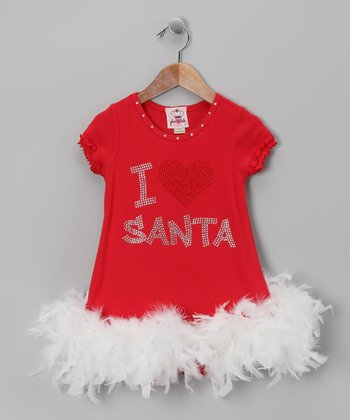 glam R baby Red Dress Red 'I Heart Santa' Feather Dress