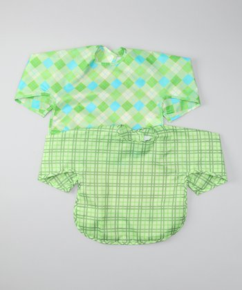 Green Argyle & Plaid Waterproof Bib Set