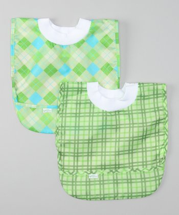 Green Argyle & Plaid Pullover Bib Set