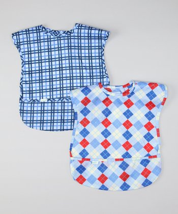Light Blue Argyle & Plaid Waterproof Bib Set
