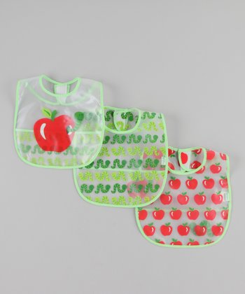 Red & Green Apple Pocket Bib Set