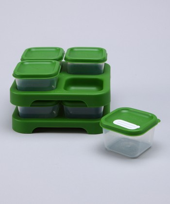 Green Baby Food Storage Tray Large Set