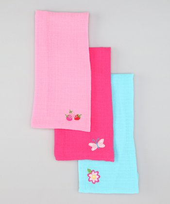 Pink Muslin Burp Pad Set