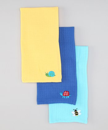 Blue Muslin Burb Pad Set