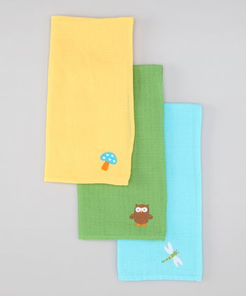 Blue & Green Muslin Burp Pad Set