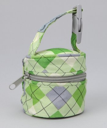 Green Argyle Pacifier Bag