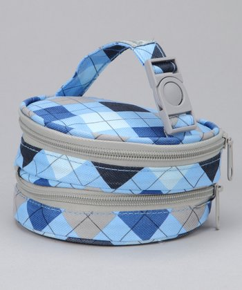 Blue Argyle Nursing Pad Bag