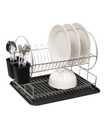 Black Two-Tier Dish Rack