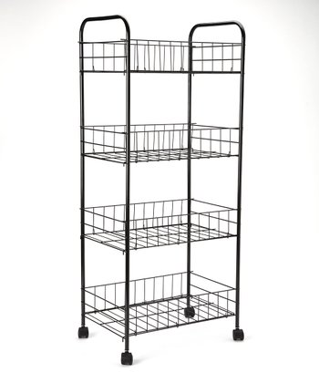 Black Four-Tier Rolling Kitchen Trolley