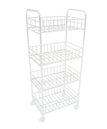 White Four-Tier Rolling Kitchen Trolley