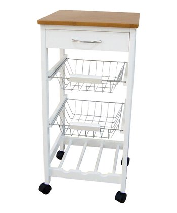 Wood Three-Tier Rolling Kitchen Trolley