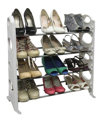White & Silver 12-Pair Shoe Rack