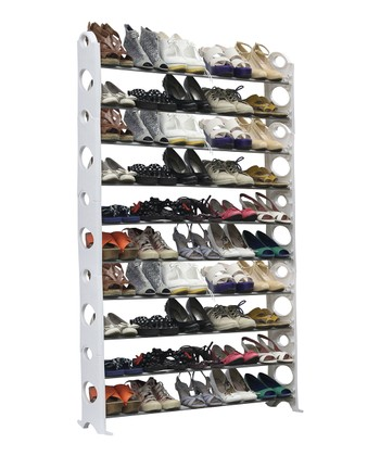 White & Silver 50-Pair Shoe Rack