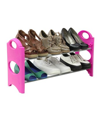 Pink & Silver Six-Pair Shoe Rack