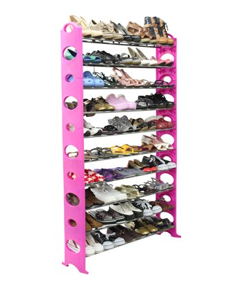Pink & Silver 50-Pair Shoe Rack