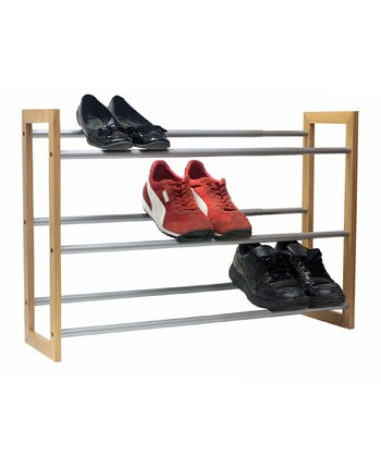 Silver & Mahogany Expandable Shoe Rack